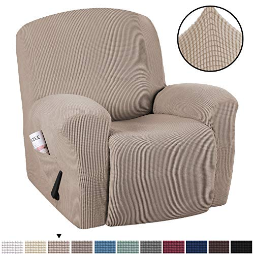 H.VERSAILTEX Stretch Recliner Slipcovers 1-Piece Durable Soft High Stretch Jacquard Sofa Furniture Cover Form Fit Stretch Stylish Recliner Cover/Protector (Recliner, Sand)
