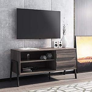 WAMPAT Meuble TV en Bois avec 1 Porte et 2 Compartiments Ouverts Meuble Bas pour Télévison Jusqu'à 49 Pouces…