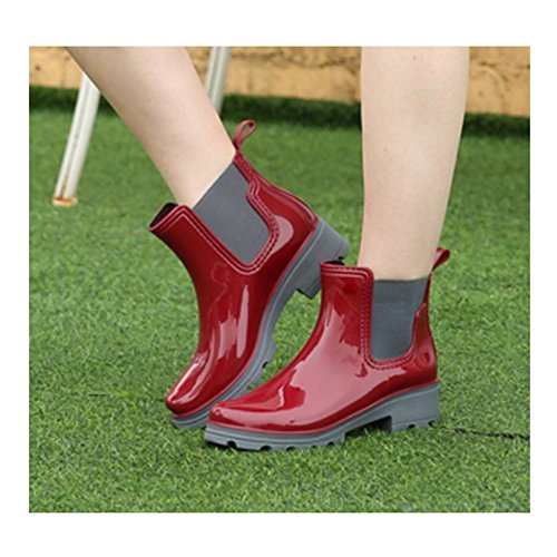 Women's rain boots sexy Rain Boots Female Adult Short Summer Boots Outdoor Short High-heeled Shoes Fashion Plastic Water Shoes (Color : Red, Size : EU37/UK4.5-5/CN37) Red