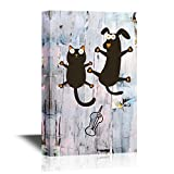 wall26 Vet Canvas Wall Art - Frightened Cat and Dog Funny Vet Concept Wall Art - Gallery Wrap Modern Home Decor | Ready to Hang - 16x24 inches