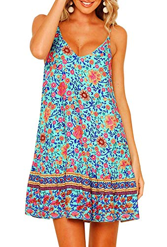 OEUVRE Women Floral Summer Spaghetti Strap V Neck Short Dress Boho Swing Ruffle Beach Dress Green Size L