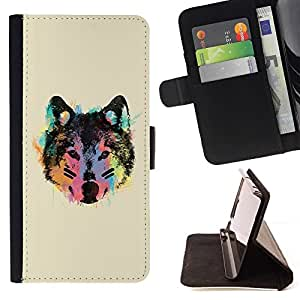DEVIL CASE - FOR Sony Xperia m55w Z3 Compact Mini - Neon Wolf Face - Style PU Leather Case Wallet Flip Stand Flap Closure Cover