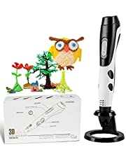 GEEETECH 3D Pen, with 12 Colors PLA Refills. Decent Halloween Gifts for Kids and Adults. Intelligent 3D Printing Pen with LED Display and USB Charging. 8 3D Drawing Stencils. 120 Feet 1.75mm PLA Filament. Non-Clogging.