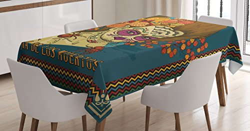 Day Of The Dead Decor Tablecloth by Ambesonne, Dia de Los Muertos Skull Girl with Roses Hearts Print, Dining Room Kitchen Rectangular Table Cover, 60 W X 84 L Inches, Petrol Blue Caramel Amber - Day Of The Dead Clothes Ideas