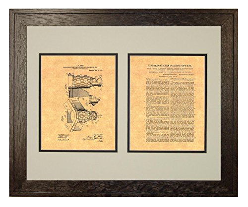 "Dischargeable Pocket for Pocket-billiard Tables Patent Art Print in a Rustic Oak Wood Frame with a Double Mat (18"" x 24"")"