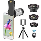Cell Phone Camera Lens Kit, Vorida Universal 12X Telephoto Lens + 180º Fisheye Lens + 0.65X Wide Angle Lens + Macro Lens for iPhone 8, 7, 6, 6s Plus, Samsung & Most Smartphone + Remote Shutter