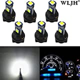 WLJH 6 Pack White PC74 Twist Locket Socket T5 LED Wedge Bulb 37 74 3030SMD Dashboard Instrument Cluster Light,Plug and Play