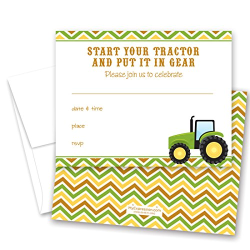 24 Green Tractor Multi Chevron Fill-in Kids Birthday Party Invitations