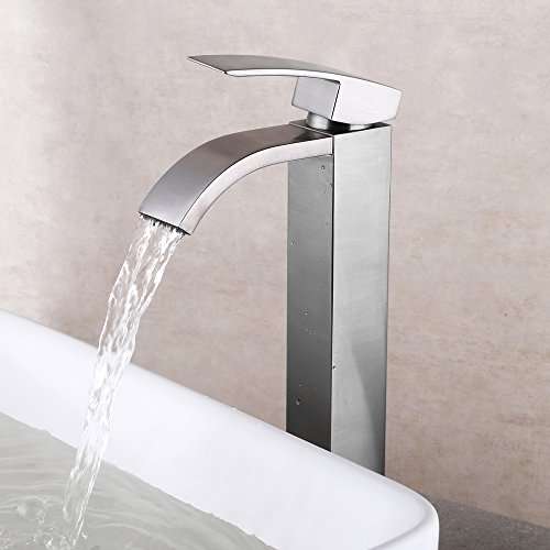 Kes Waterfall Bathroom Faucet Brushed Nickel Single Handle Lavatory Vessel Sink Faucet One Hole
