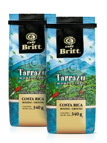 Cafe Britt Tarrazu Montecielo Ground Coffee, 12-Ounce Bags (Pack of 2) (Coffee Dispenser Ground)