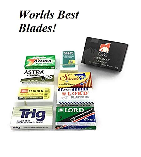 GBS High Quality 50 Double Edge Safety Blade Variety Pack - Feather Feather, Shark, 7 O'clock, Astra, Trig, Lord + Alum Block Pair with GBS Razors! ()