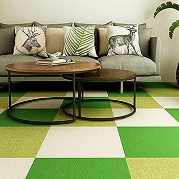 Commercial Carpet Tiles Stick Rug for Office Hotel Meeting Room Living Room Decor with Non-Slip Asphalt Bottom Backing Free Tapes 20x20inch,Smoky-Dark-Grey Stripe,12tiles