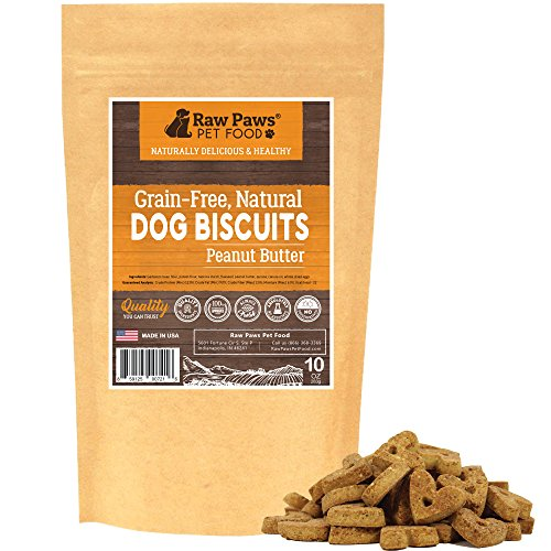 Raw Paws Pet Grain Free Peanut Butter Dog Biscuits, 10-ounce - Made in USA Only - Crunchy Natural Dog Snacks - Peanut Butter Dog Treats for Small Dogs, Puppies, Large and Senior Dogs by Raw Paws