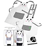 JAVOedge Mommy and Me (5-7 Yrs.) Panda Apron Matching Set for Cooking or Baking Apron With Front Pocket Great Kids Gift