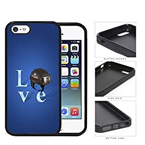 Love Air Force Brown Helmet with Royal Blue Background iPhone 5 5s Rubber Silicone TPU Cell Phone Case
