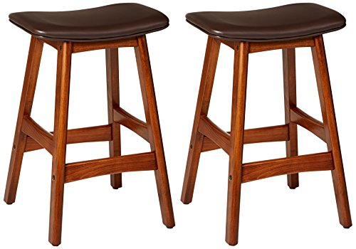 Homelegance Poindexter PU Upholstered Saddle Barstool (Set of 2), Dark Brown