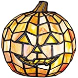 "Meyda Tiffany 24733 Jack O'Lantern Tiffany Glass Accent Lamp, 7"" Height"