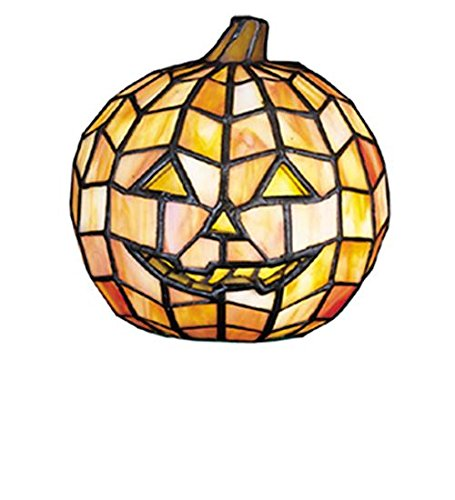 Meyda Tiffany 24733 Jack O'Lantern Tiffany Glass Accent Lamp, 7