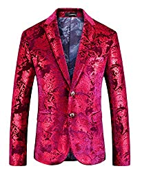 Men's Slim Fit Casual Red Floral Blazer