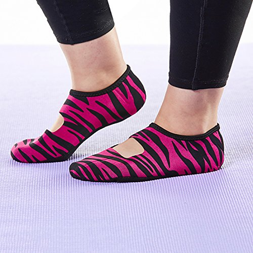 Slipper Shoes Yoga Shoes Travel NuFoot Women's Pink Shoes Janes Dance Flats Shoes amp; Mary House Indoor Exercise amp; Foldable Zebra Best Large Slippers Slippers Flexible Socks Socks UqUZzfP