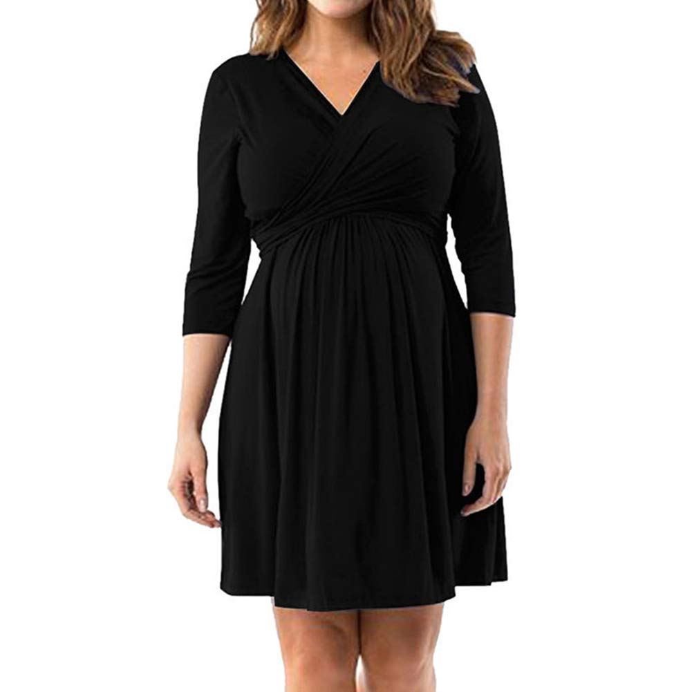 Slendima Classic Solid Color Maternity 3/4 Sleeve V Neck Back Bandage Pregnant Women Midi Dress Black XXL by Slendima (Image #1)
