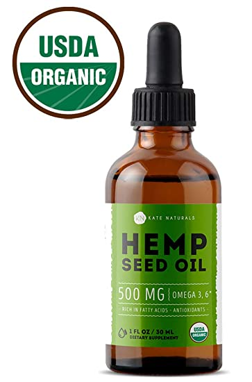 Organic Hemp Seed Oil Drops 30ML by Kate Naturals  Pure Extract  Promotes  Restful Sleep, Pain