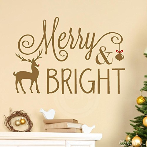 Merry And Bright (Reindeer) wall saying vinyl lettering decal home decor art quote sticker (Gold, 16.5x24)