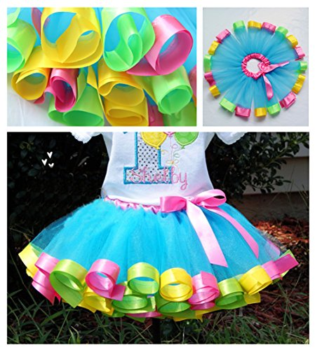 Loveyal Little Girls Layered Rainbow Tutu Skirts with Unicorn Horn Headband (Lake Blue, L,4-8 Years) by Loveyal (Image #2)