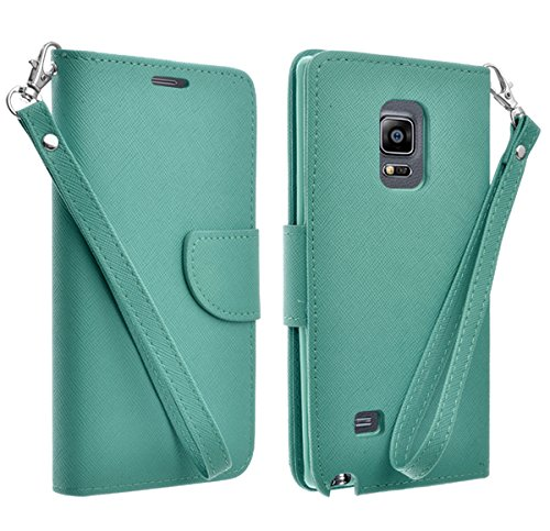 AT&T Samsung Galaxy Mega 2 Case - PU Leather Wallet Cover With 2 Credit Card Slot (TEAL WALLET - Galaxy Mega Att Samsung Cases