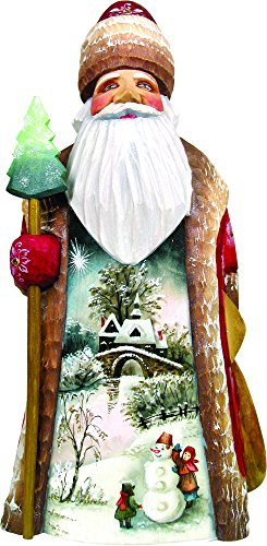 G. Debrekht Carved Wood and Hand-Painted First Day of Winter Santa, 8