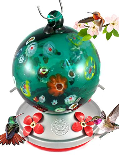 Grateful Gnome - Hummingbird Feeder - Hand Blown Glass - Green Globe With Wild Flowers - 24 Fluid Ounces Butterfly Hummingbird Feeder