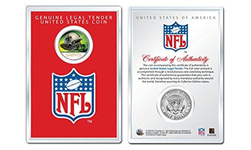 NEW ORLEANS SAINTS NFL Helmet JFK Half Dollar Coin w/NFL Display Case LICENSED]()