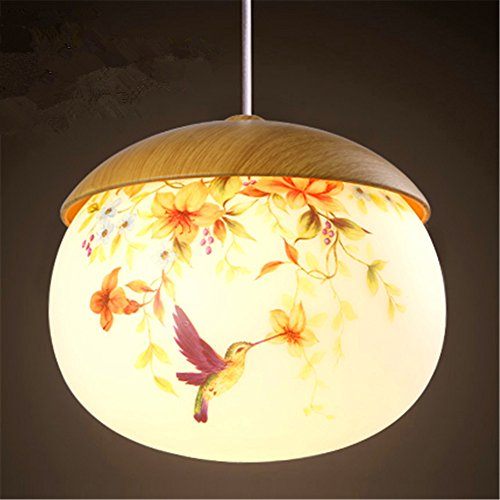 - Modern LED Pendant Light Chandelier LED Pendant Lighting Apply to Contemporary Living Room Bedroom The Simple Wood-Grain Single Glass Hand Painted a Warm Yellow Light Chandelier Diameter 250255mm