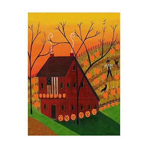 (Trademark Fine Art Sunset Pumpkin Saltbox by Cheryl Bartley, 35x47-Inch Fine Art Multicolor)