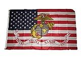AES 3x5 USA America American/EGA Marines Marine Corps Knitted Flag 3'x5'