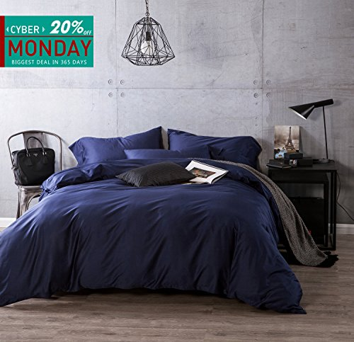 Kiss Tell 100% Egyptian Cotton Duvet Cover Sets, Solid Color Soft Duvet Cover King Peacock -