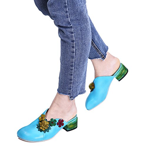Bule Slippers Shoes Mules Clogs gracosy Mules Toe Sandals Platform Leather Women 1 Shoes Shoes Round Heels OHRY6q