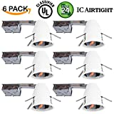 "6 Pack of 4"" inch Remodel LED Can Air Tight IC Housing LED Recessed Lighting- UL Listed and Title 24 Certified"