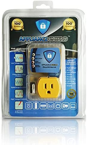 Appliance ShieldNew Top Rated Surge ProtectorProtects Appliances From Damaging Costly Voltage Spikes DipsWorks Great For All Large AppliancesRefrigerators Freezers DryersBest In Class 20 Amp