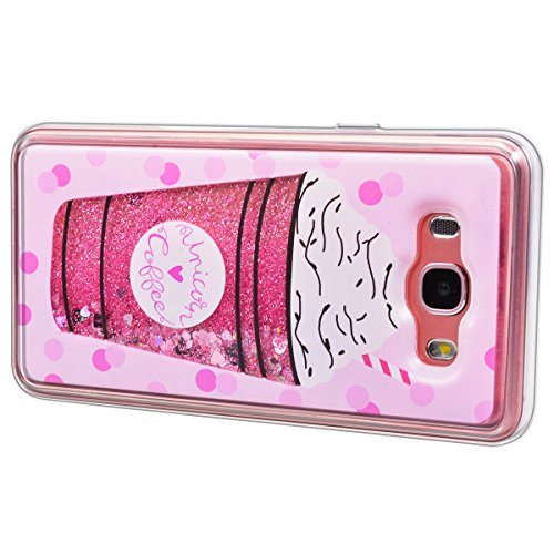 Funda Samsung Galaxy J7 2016, WE LOVE CASE Ultra Fina Slim Suave Funda Glitter Transparente Quicksand Amor Rosado Samsung J7 2016 Silicona Cubierta Clear Cover Original Flexible Gel Dibujos Anti Rasgu Cream