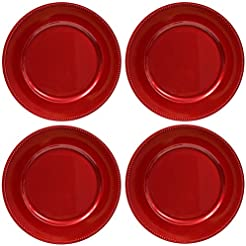 Plate Chargers Set of 4 Red Beaded Rim Round Holiday Table Decoration Heavy-duty Plastic Dinner Party Wedding  sc 1 st  Amazon.com & Amazon.com: Red - Plastic / Dinner Plates / Plates: Home u0026 Kitchen