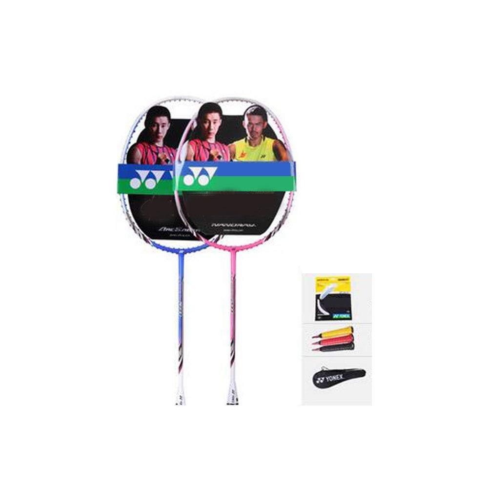 バドミントンラケット、アウトドアスポーツやフィットネス用ラケット、2バドミントンラケットセット、(バドミントンバッグ滑り止めハンドジェルラインX 2を含む) (Color : Blue Pink, Size : 67.5) B07RTPV28V Blue Pink 67.5
