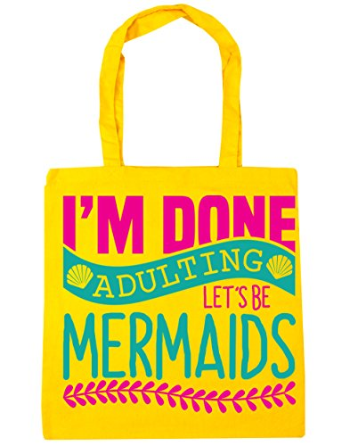 Done Let's Beach 10 litres Bag Gym I'm Yellow Shopping Mermaids x38cm Tote Adulting 42cm HippoWarehouse Be 5tgSqSA