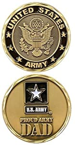 "United States Military US Armed Forces Army ""Proud Dad"" - Good Luck Double Sided Collectible Challenge Pewter Coin by Eagle Crest"