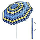 SONGMICS 7 Feet Fiberglass Beach Umbrella, Heavy Duty Outdoor Sports Umbrella, Sun Shade with Tilt Mechanism, Carry Bag - for Beach, Gardens, Balcony and Patio Blue and Yellow Stripes UGPU07UY