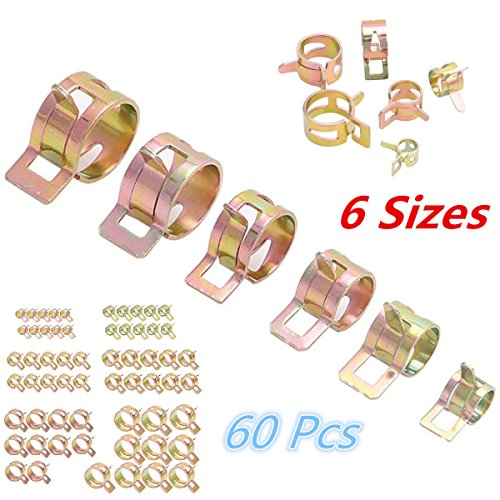 60pc Spring Clip Fuel Oil Water Hose Pipe Clamp 12-22mm Air Tube Fastener 6Sizes -