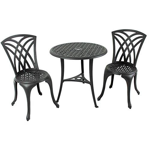 Black Weave Design Aluminum Bistro Set (Fairmont Dining Set)