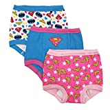 DC Comics Toddler Girls' Justice League 3 Pack Training Pant, Assorted Justice League, 4T