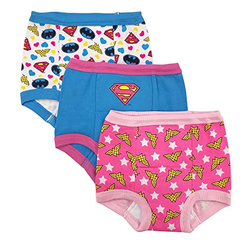 DC Comics Toddler Girls' Justice League 3 Pack Training Pant, Assorted Justice League, 2T -