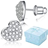 Buyless Fashion Hypoallergenic Surgical Steel Rhodium Plated Flat Heart Earring With CZ Stones And Push Backs